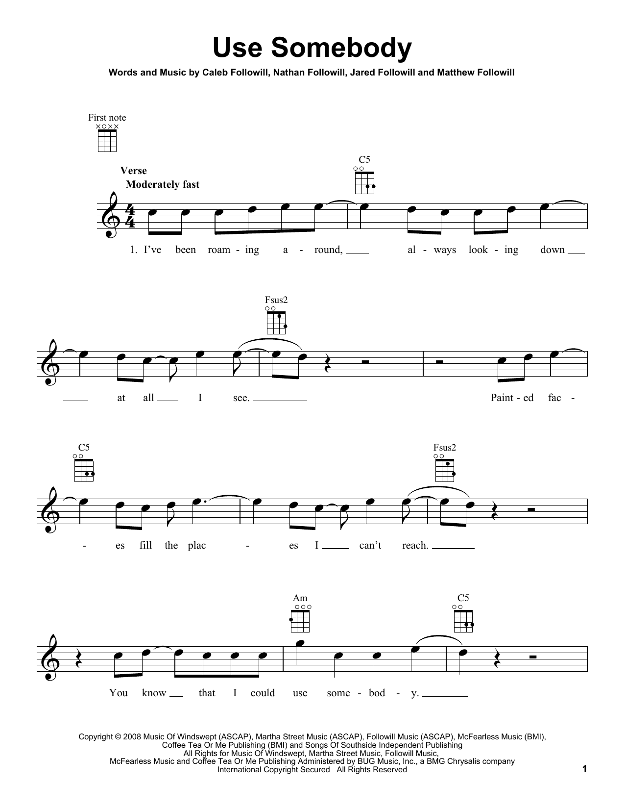 Use Somebody : Sheet Music Direct