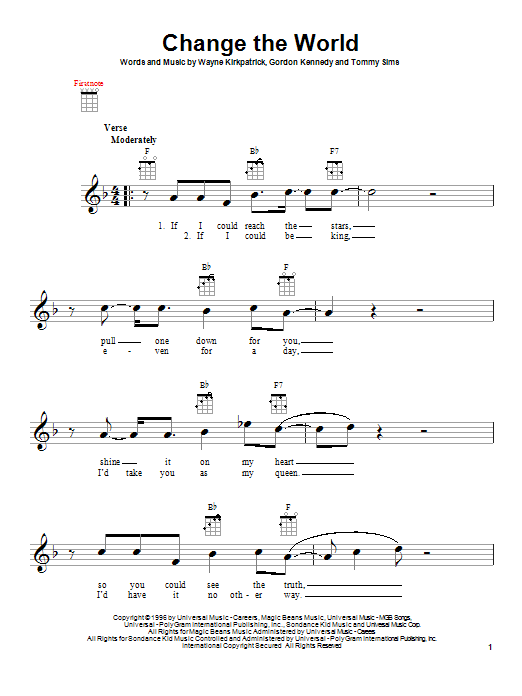 Tablature guitare Change The World de Eric Clapton - Ukulele
