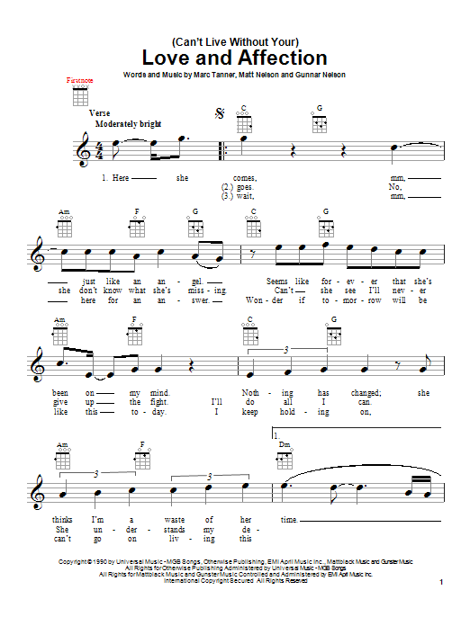 Tablature guitare (Can't Live Without Your) Love And Affection de Nelson - Ukulele