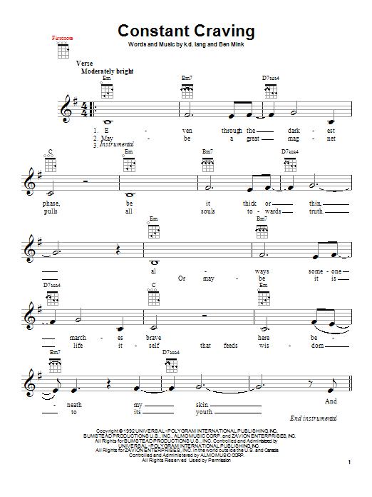 Tablature guitare Constant Craving de k.d. lang - Ukulele