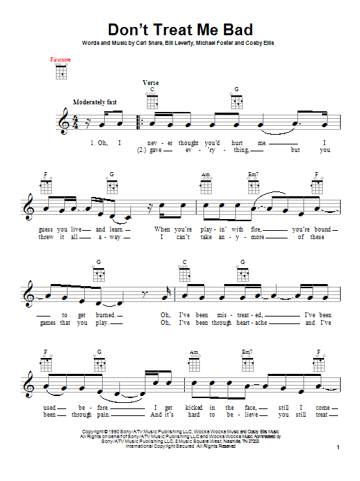 Tablature guitare Don't Treat Me Bad de Firehouse - Ukulele