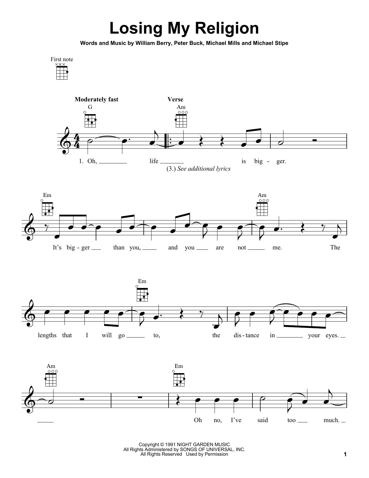 Tablature guitare Losing My Religion de R.E.M. - Ukulele