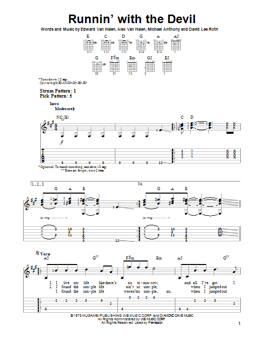 Tablature guitare Runnin' With The Devil de Van Halen - Tablature guitare facile