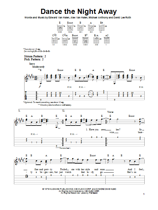 Tablature guitare Dance The Night Away de Van Halen - Tablature guitare facile