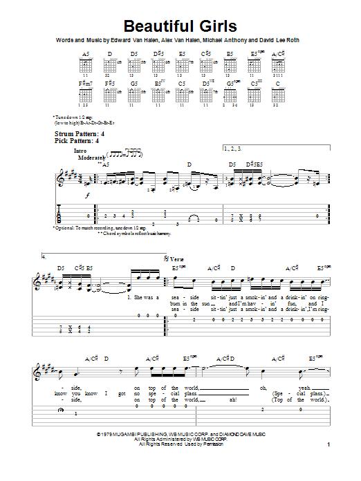 Tablature guitare Beautiful Girls de Van Halen - Tablature guitare facile