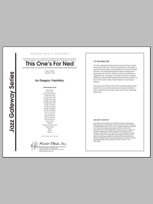 This One's For Ned (COMPLETE) sheet music for jazz band by Yasinitsky