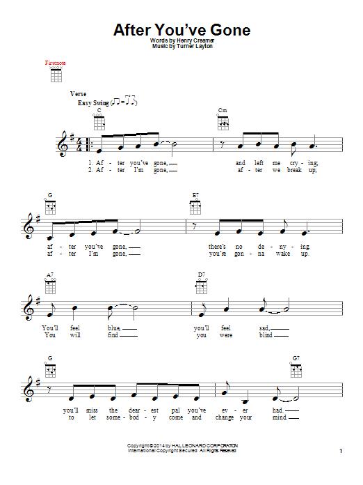 Tablature guitare After You've Gone de Sophie Tucker - Ukulele