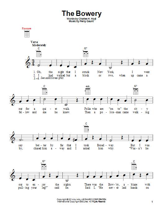 Tablature guitare The Bowery de Charles H. Hoyt - Ukulele