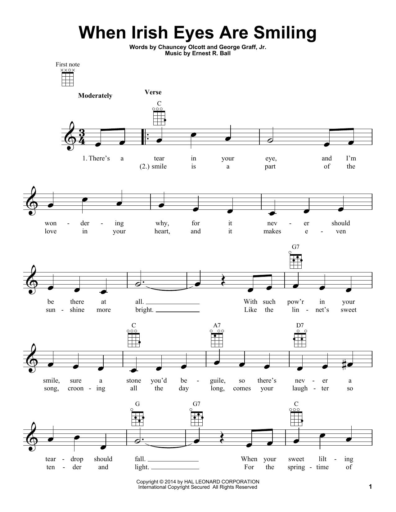 Tablature guitare When Irish Eyes Are Smiling de Chauncey Olcott - Ukulele