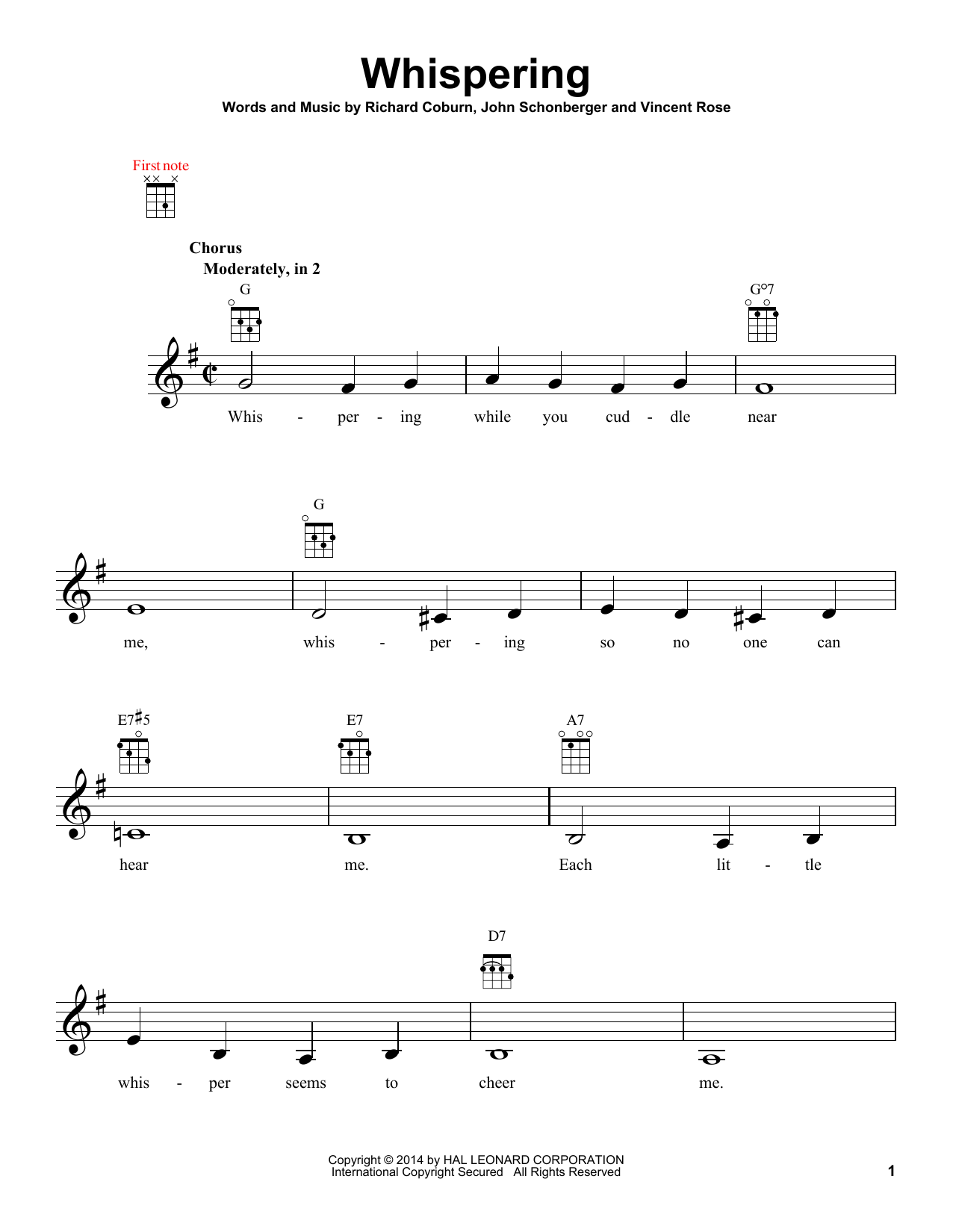 Tablature guitare Whispering de John Schonberger - Ukulele