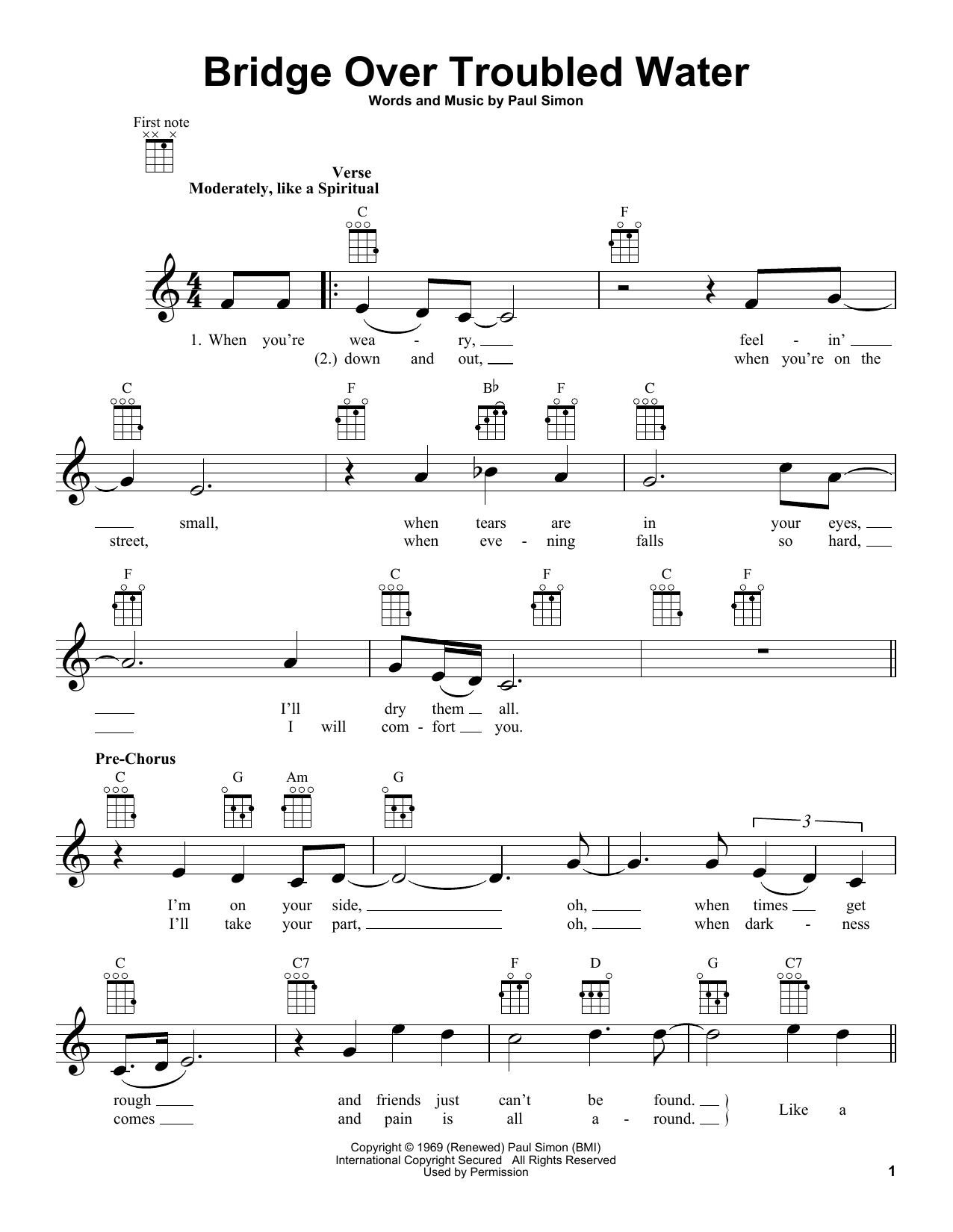 Sheet Music Digital Files To Print - Licensed Simon & Garfunkel ...