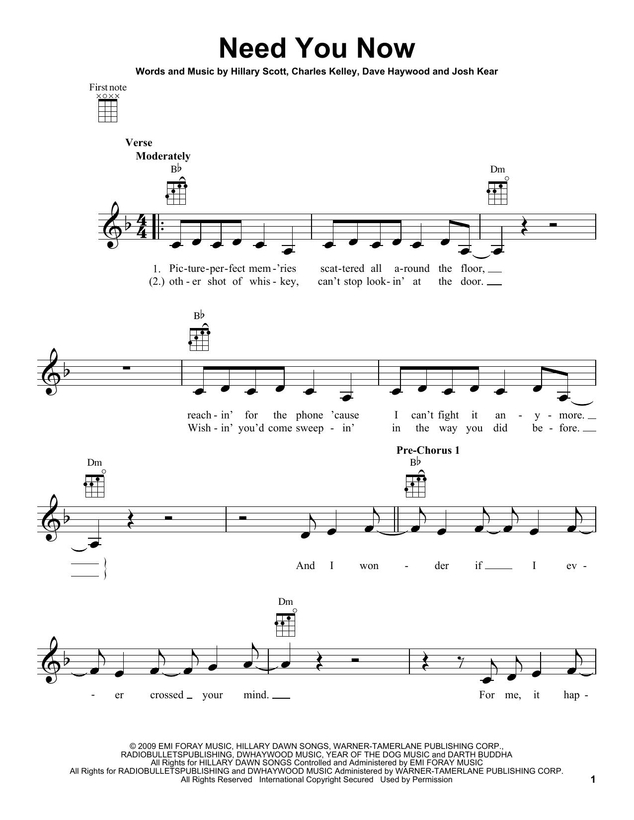 Tablature guitare Need You Now de Lady Antebellum - Ukulele