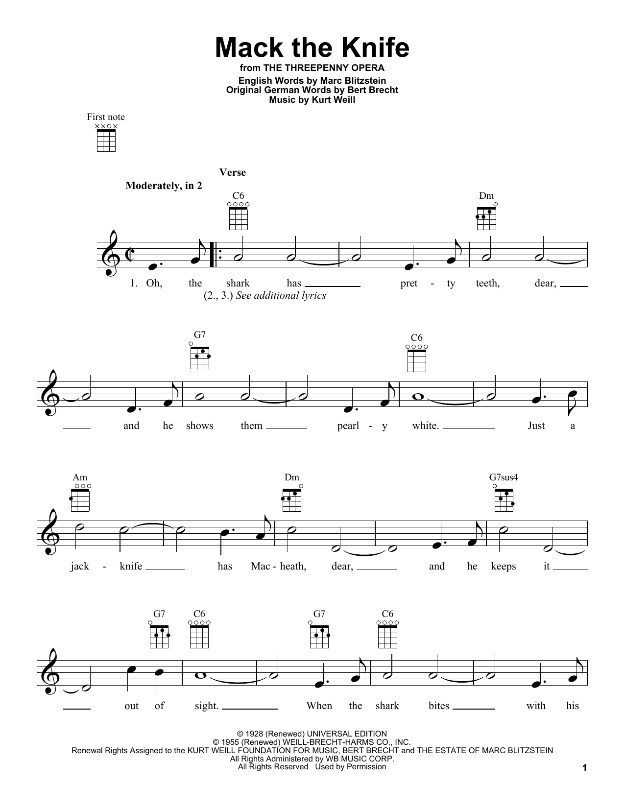 Tablature guitare Mack The Knife de Bobby Darin - Ukulele