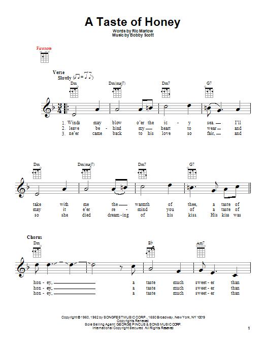Tablature guitare A Taste Of Honey de The Beatles - Ukulele