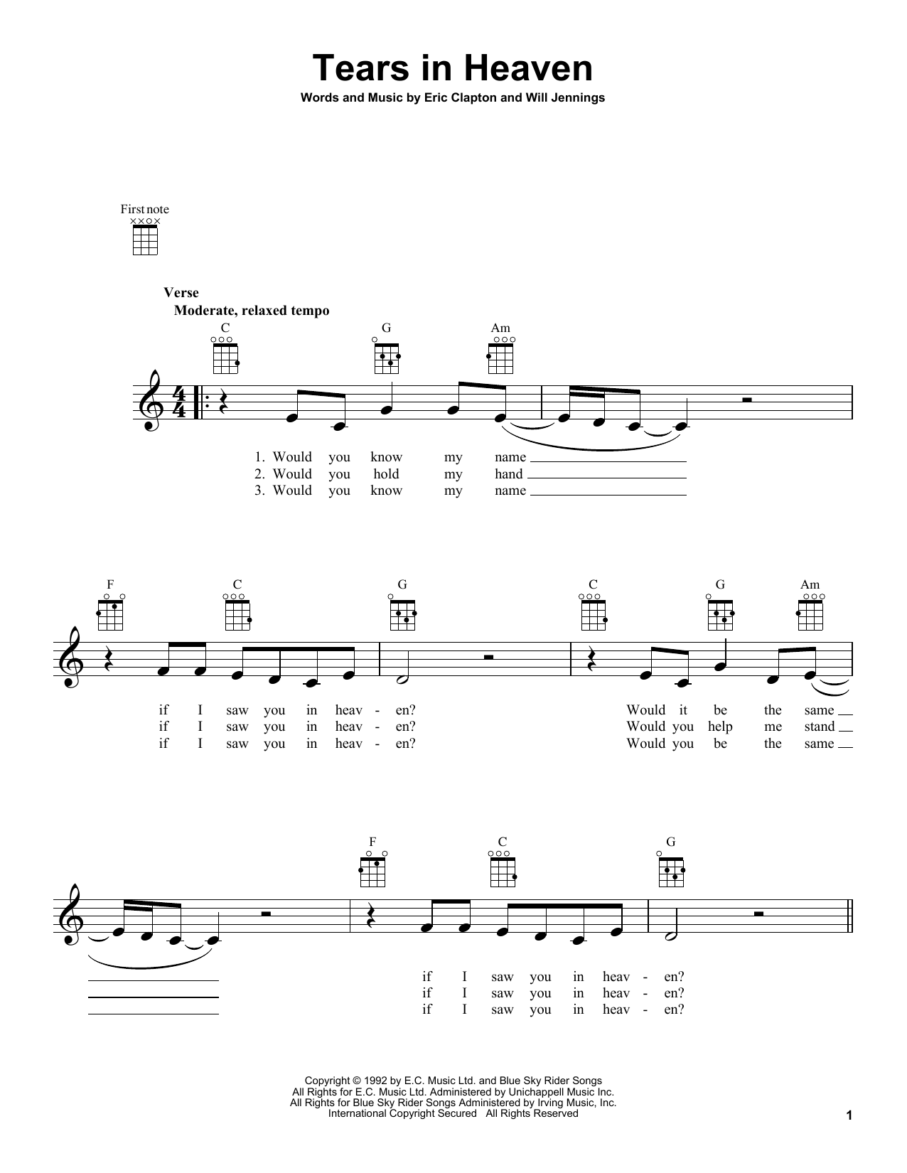 Tablature guitare Tears In Heaven de Eric Clapton - Ukulele