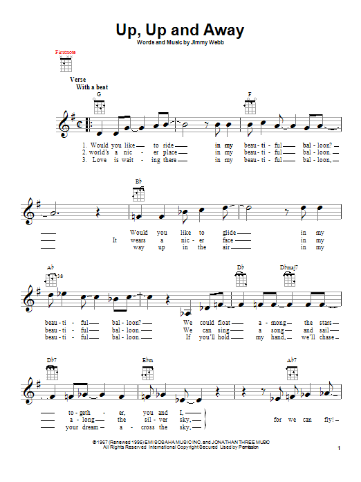 Tablature guitare Up, Up And Away de The Fifth Dimension - Ukulele