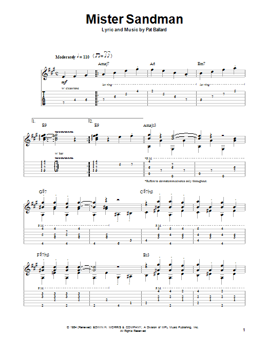 Mister Sandman by Chet Atkins - Guitar Tab Play-Along - Guitar Instructor