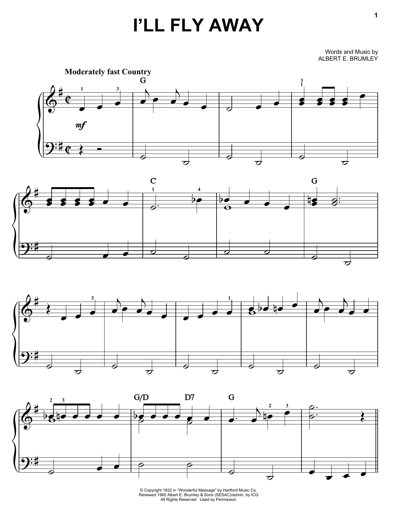 Partition piano I'll Fly Away de Albert E. Brumley - Piano Facile