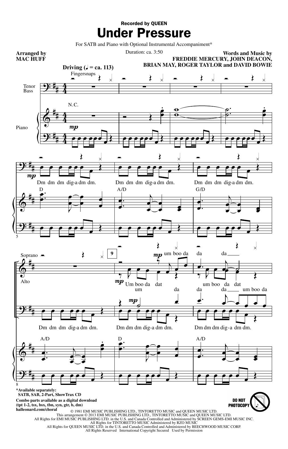 Partition chorale Under Pressure de Queen - SATB