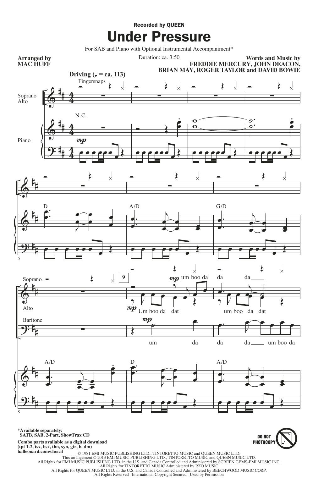 Partition chorale Under Pressure de Queen - SAB
