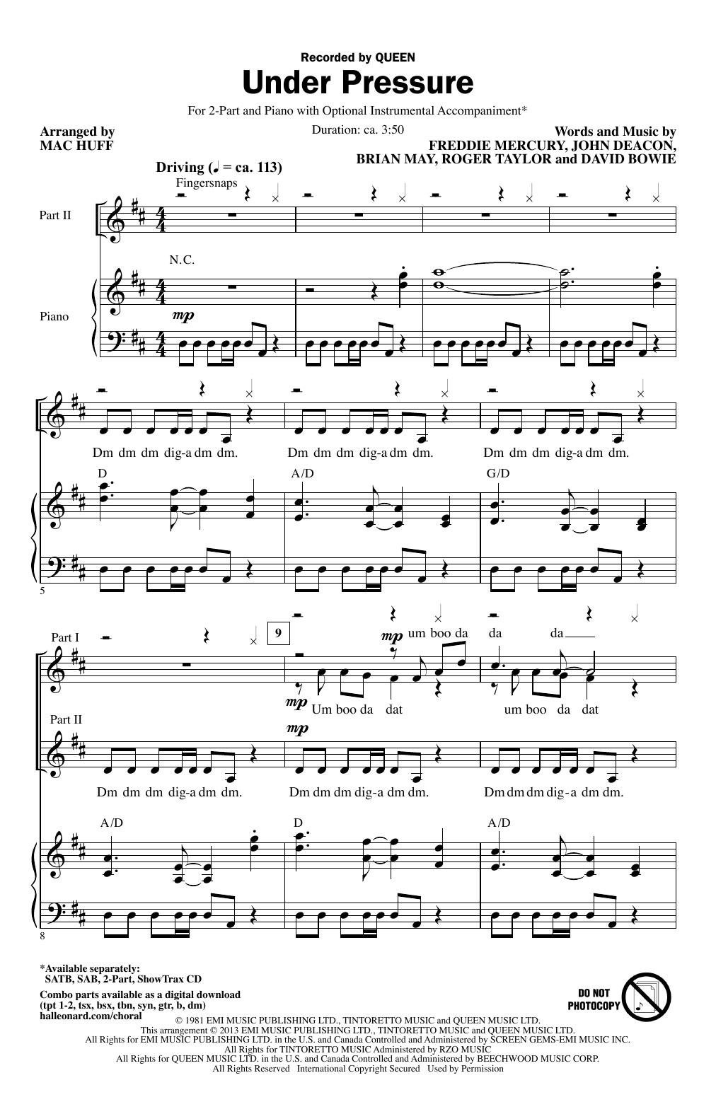 Partition chorale Under Pressure de Queen - 2 voix