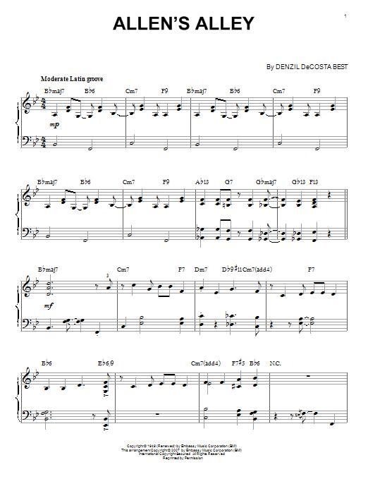 Partition piano Allen's Alley de Denzil DeCosta Best - Piano Solo