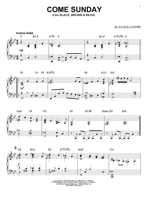 Partition piano Come Sunday de Duke Ellington - Piano Solo