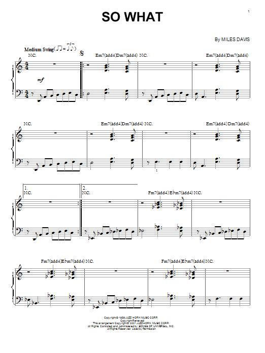 Partition piano So What de Miles Davis - Piano Solo