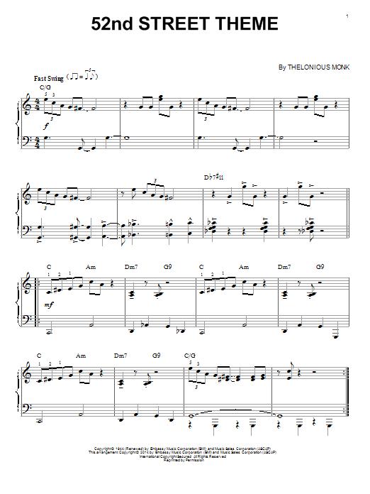 Partition piano 52nd Street Theme de Thelonious Monk - Piano Solo