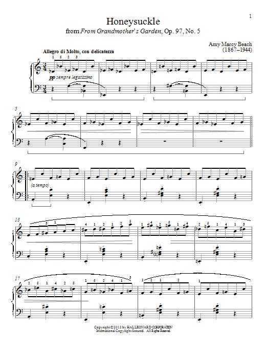 Partition piano Honeysuckle de Gail Smith - Piano Solo