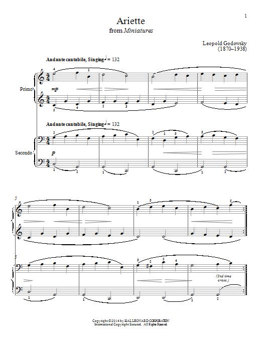 Partition piano Ariette de Bradley Beckman - 4 mains
