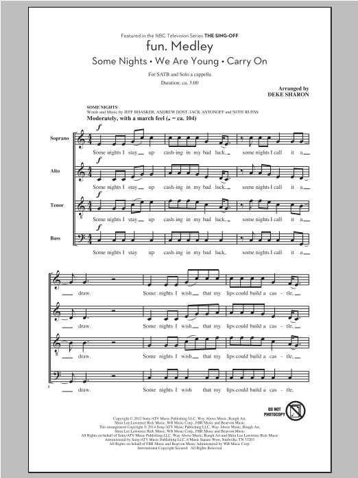 Partition chorale Fun.  Medley from the Sing-Off de  - SATB