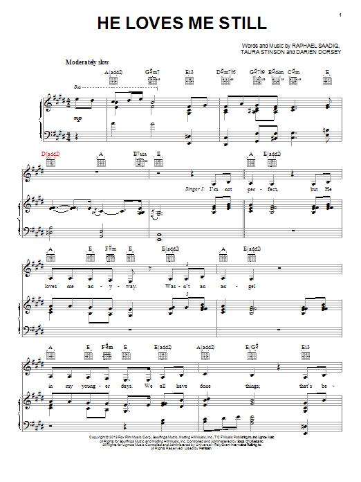 Partition piano He Loves Me Still de Angela Bassett and Jennifer Hudson - Piano Voix Guitare (Mélodie Main Droite)