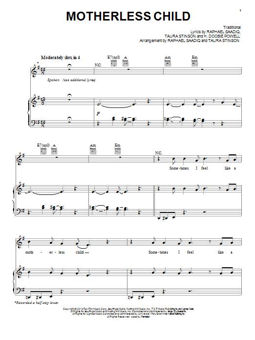 Partition piano Motherless Child de Jacob Latimore - Piano Voix Guitare (Mélodie Main Droite)
