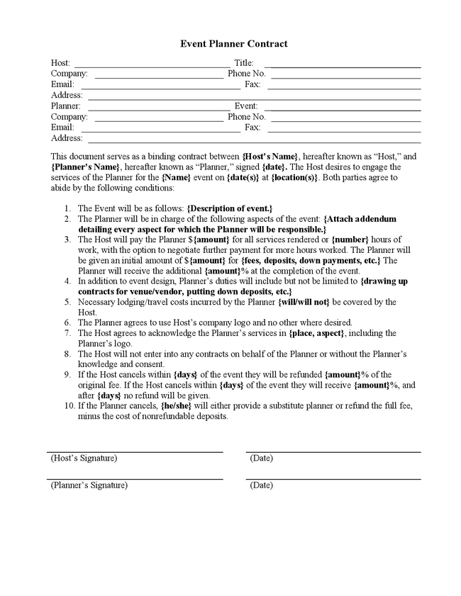 Doc585340 Event Coordinator Contract Template Event Contract – Event Planner Contract Example