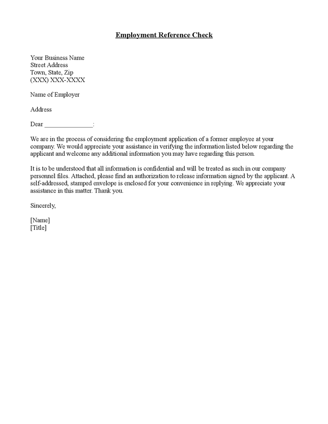 personal reference letter for job application