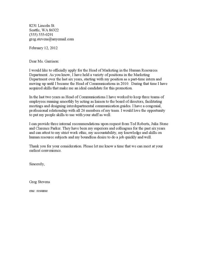 sample cover letter for promotion