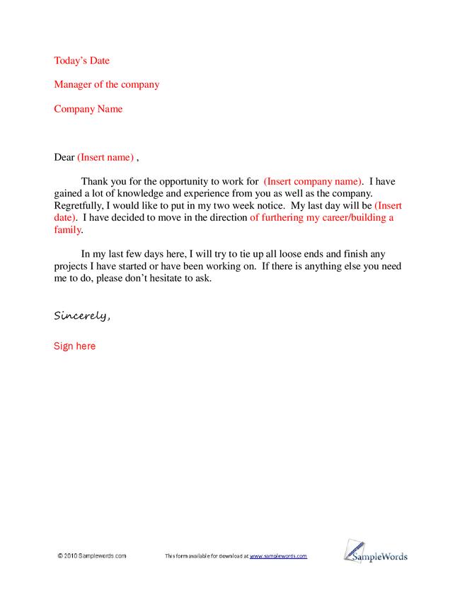 basic letter of resignation sample hashdoc