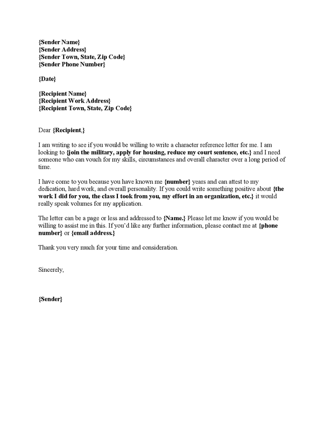 personal character reference letter template .