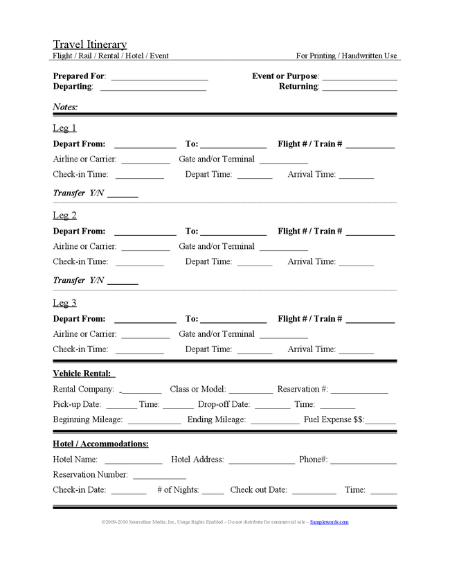 trip planner word document. trip itinerary template pdf. sample ...