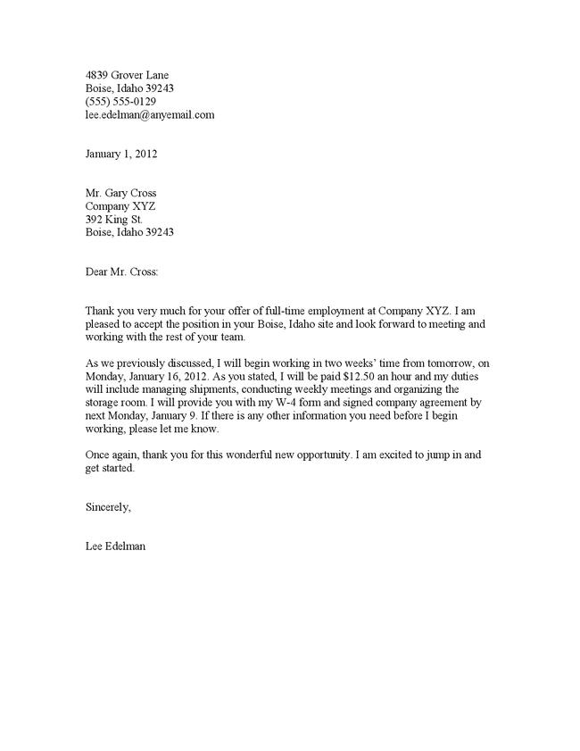 3. teaching job acceptance letter. formal job acceptance letter ...