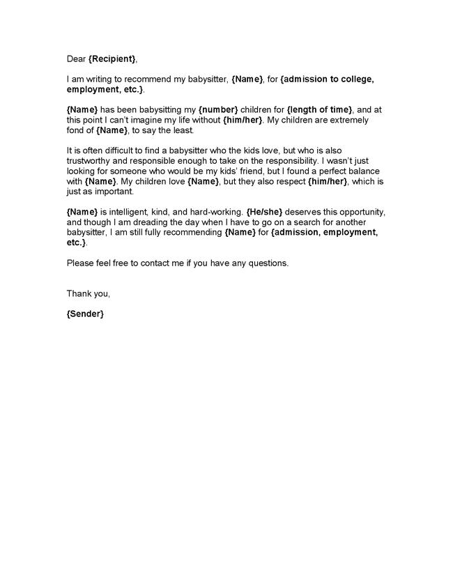 Reference Letter Babysitter - diepieche.tk