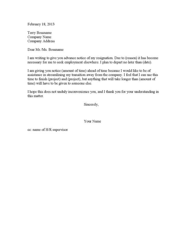 2 weeks notice letter template – Two Week Notice Letter Example