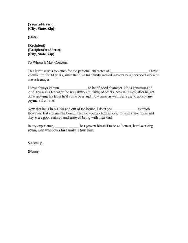 Doc12751650 Personal Recommendation Letters Personal – Personal Recommendation Letter