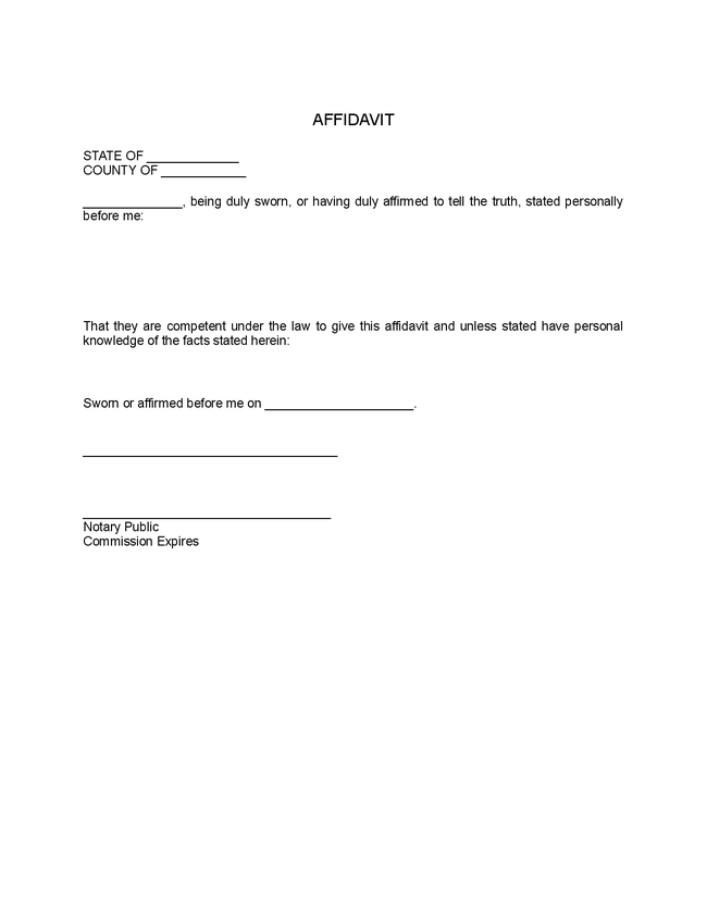 free affidavit form template – Free Affidavit Form Download