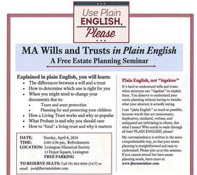 MA Wills & Trusts in Plain English: a Free Estate Planning Seminar