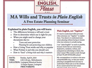 MA Wills & Trusts in Plain English: a Free Estate Planning Seminar