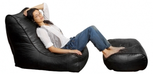 Hub London Store Ambient Lounge Fiorenze Leather Bean Bag