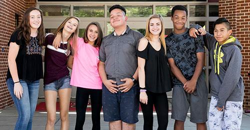 Glenelg high school students in front of school
