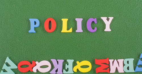 Policy spelled out using magnets.